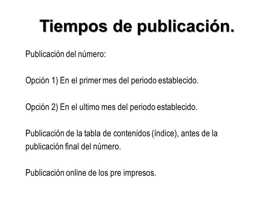 Tiempos de publicación.