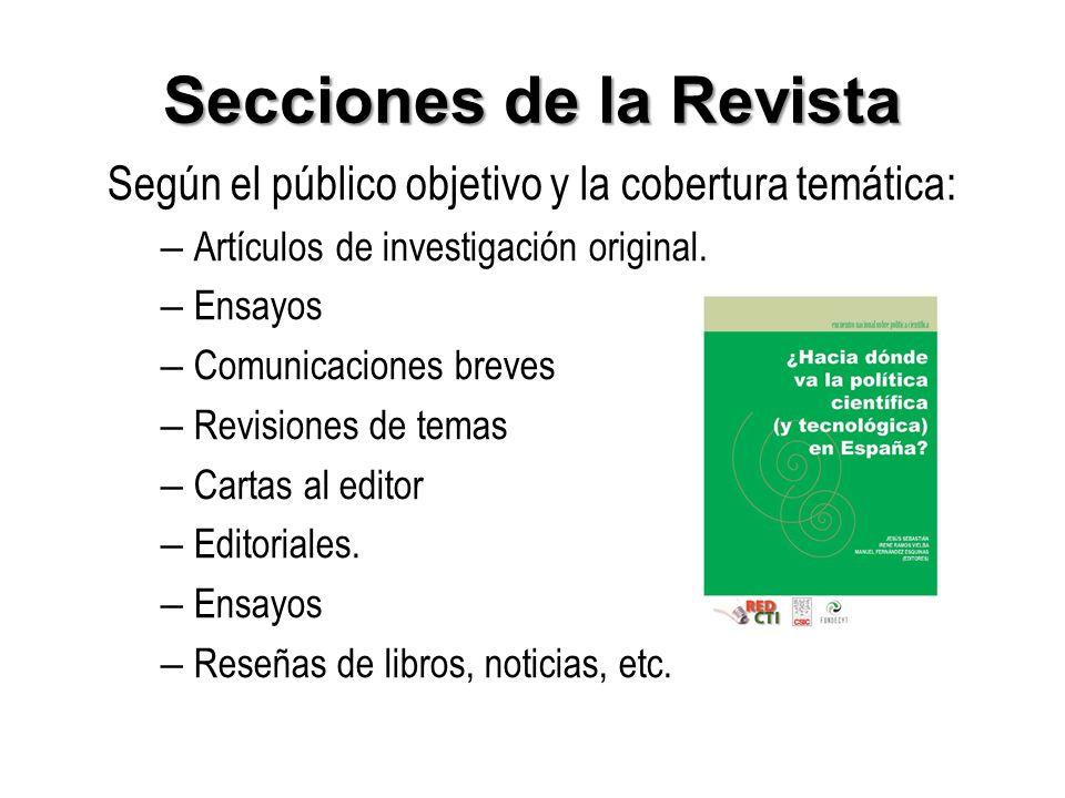 Secciones de la Revista