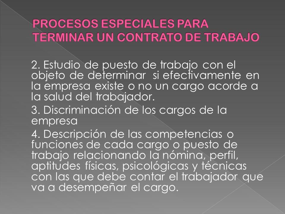 PROCESOS ESPECIALES PARA TERMINAR UN CONTRATO DE TRABAJO