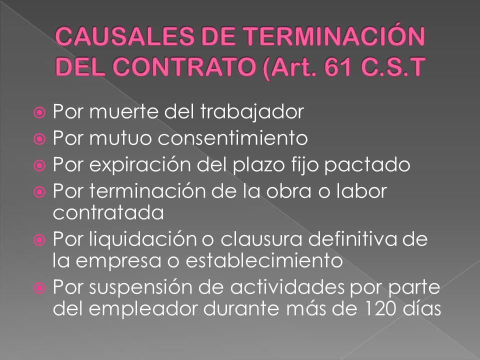 CAUSALES DE TERMINACIÓN DEL CONTRATO (Art. 61 C.S.T