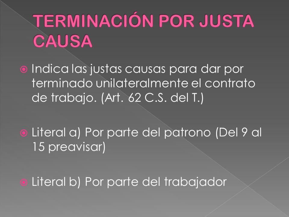 TERMINACIÓN POR JUSTA CAUSA