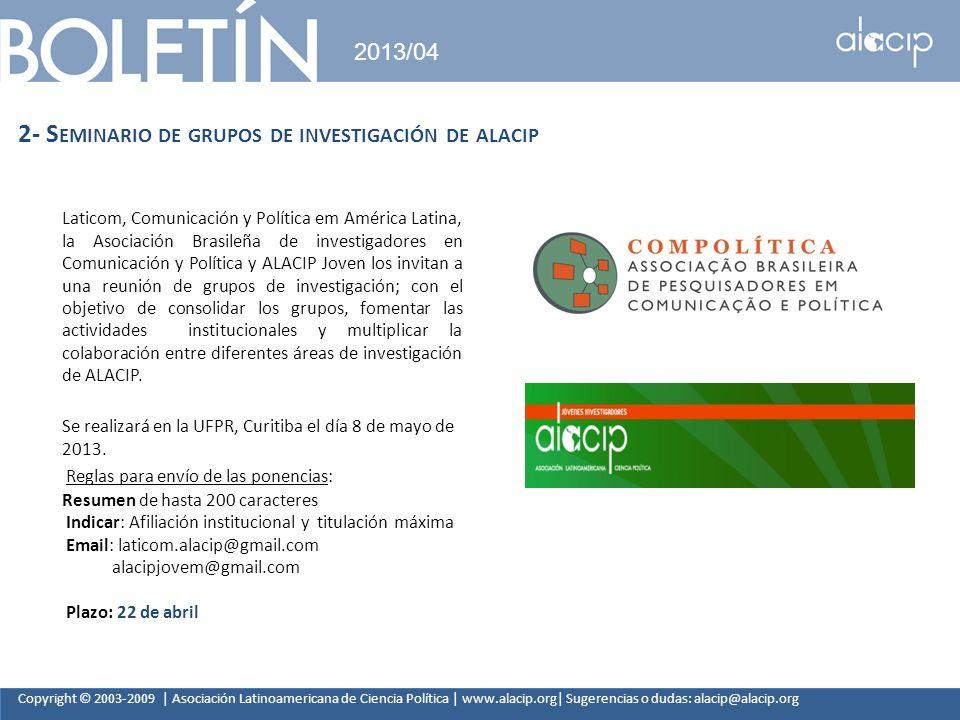 2- Seminario de grupos de investigación de alacip