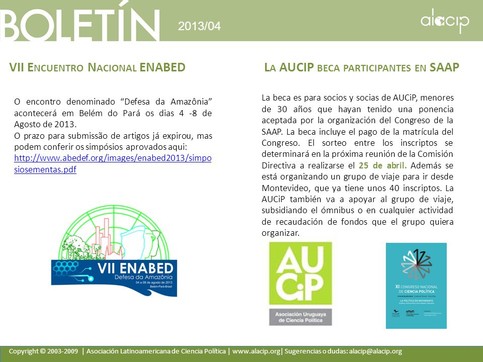 VII Encuentro Nacional ENABED La AUCIP beca participantes en SAAP