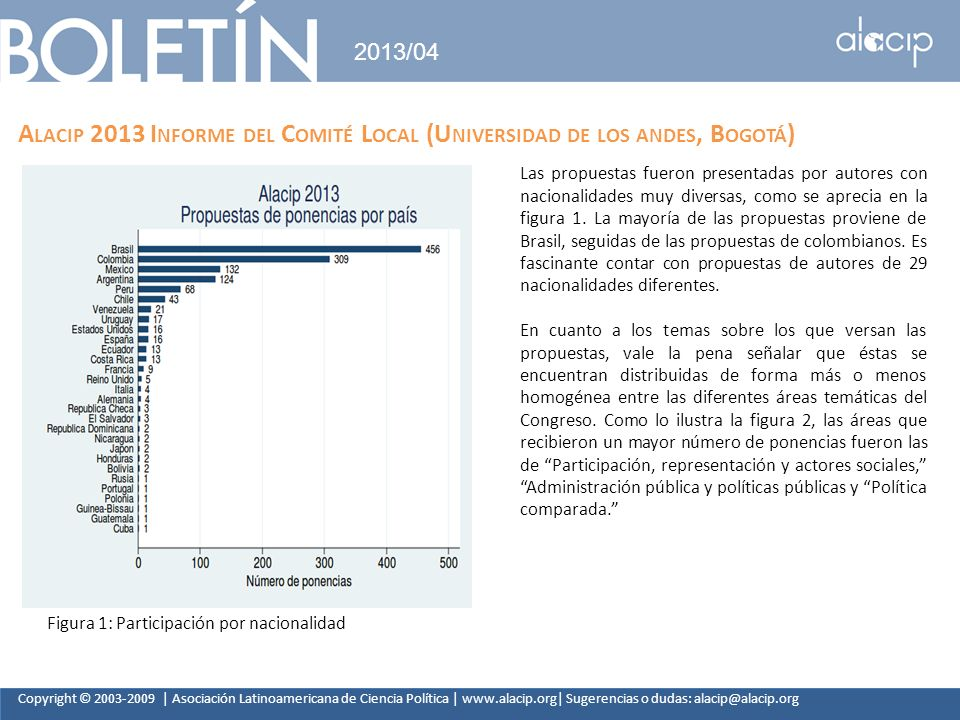 2013/04 Alacip 2013 Informe del Comité Local (Universidad de los andes, Bogotá)