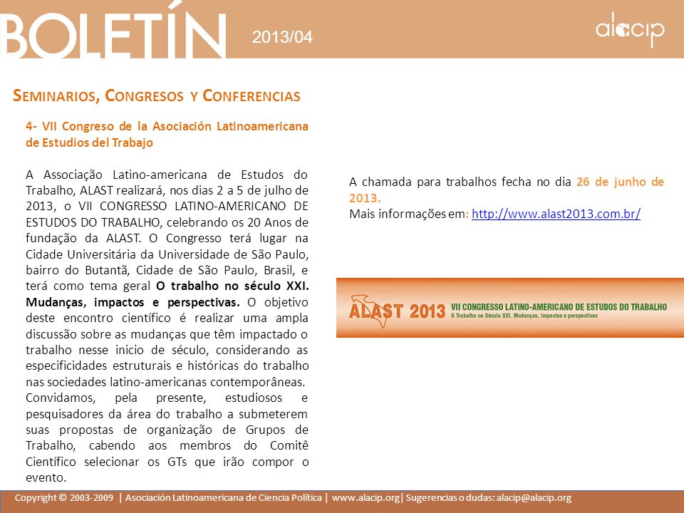 Seminarios, Congresos y Conferencias