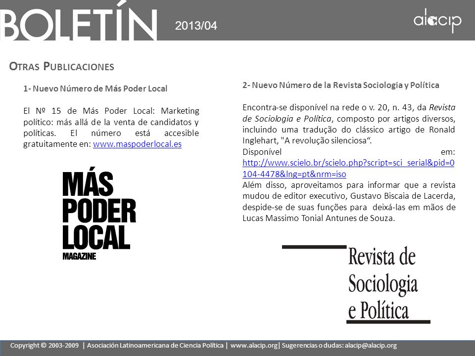 2013/04 Otras Publicaciones. 2- Nuevo Número de la Revista Sociologia y Política.