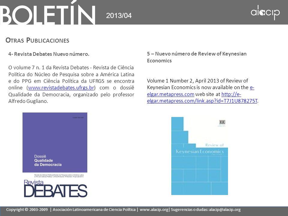 Otras Publicaciones 2013/04 4- Revista Debates Nuevo número.