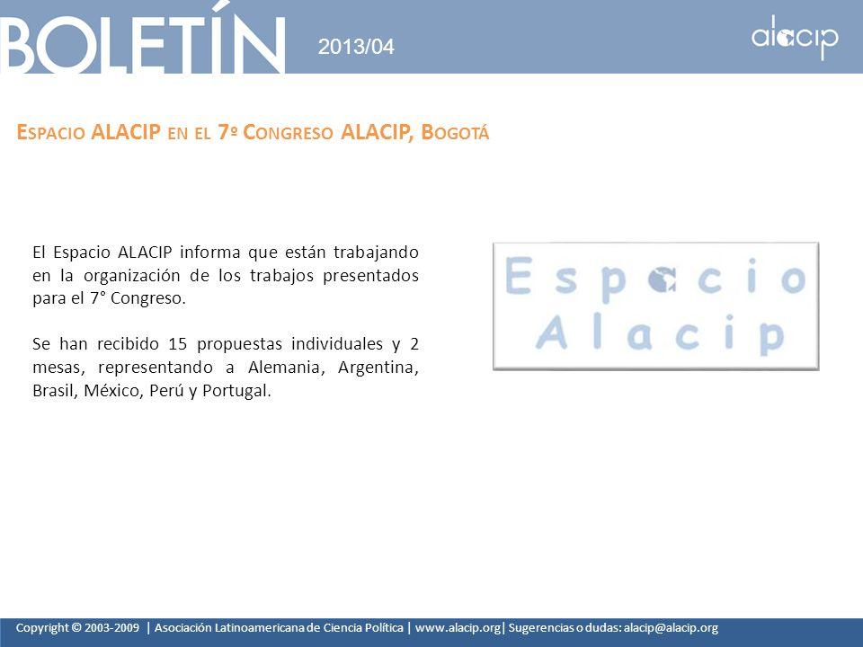 Espacio ALACIP en el 7º Congreso ALACIP, Bogotá