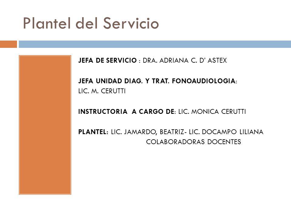 Plantel del Servicio JEFA DE SERVICIO : DRA. ADRIANA C. D' ASTEX