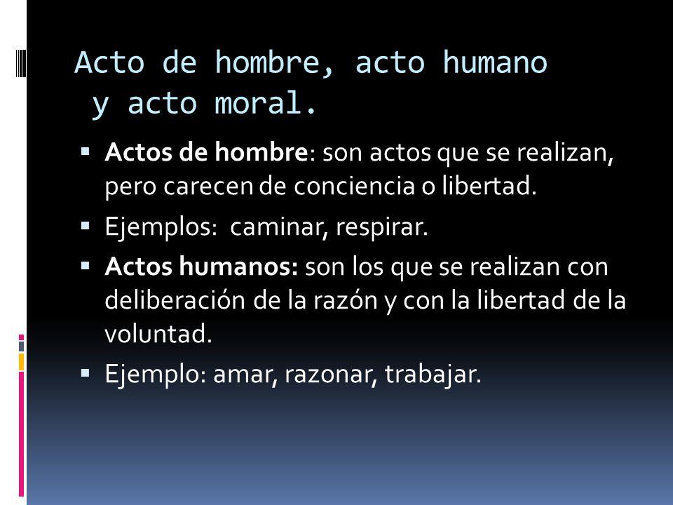 Acto de hombre, acto humano y acto moral.