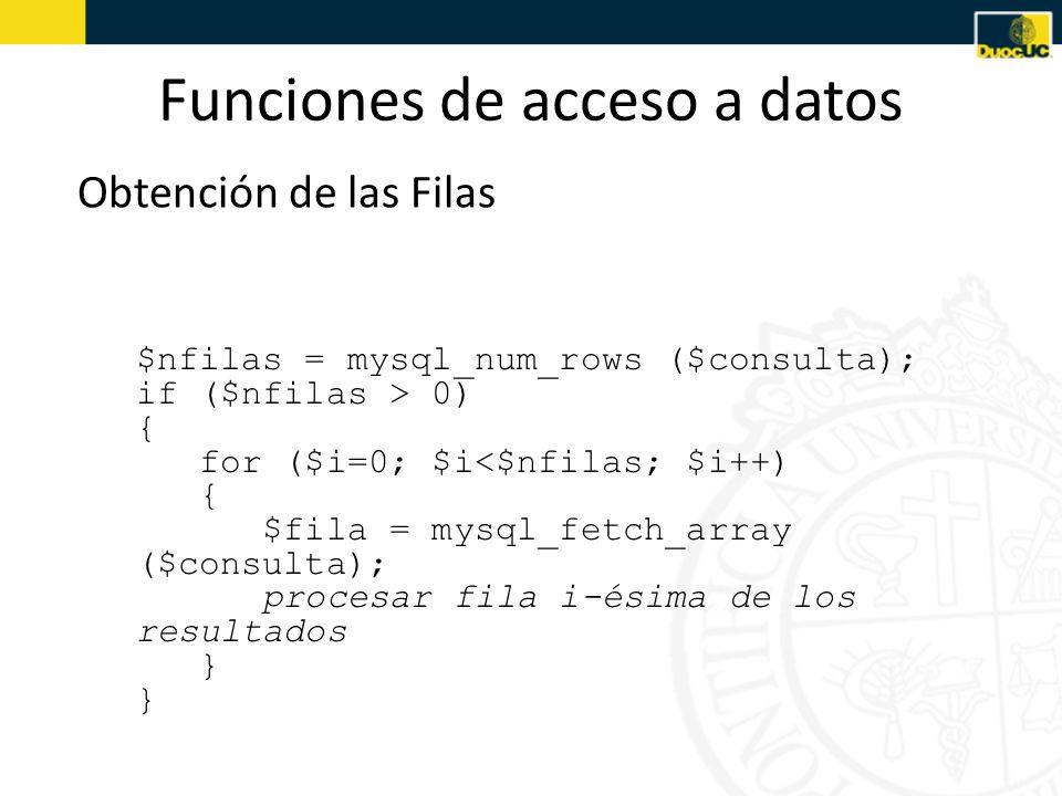Funciones de acceso a datos