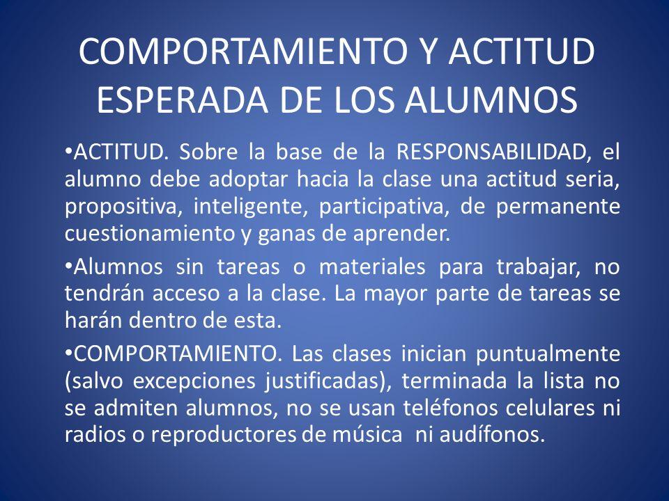 COMPORTAMIENTO Y ACTITUD ESPERADA DE LOS ALUMNOS