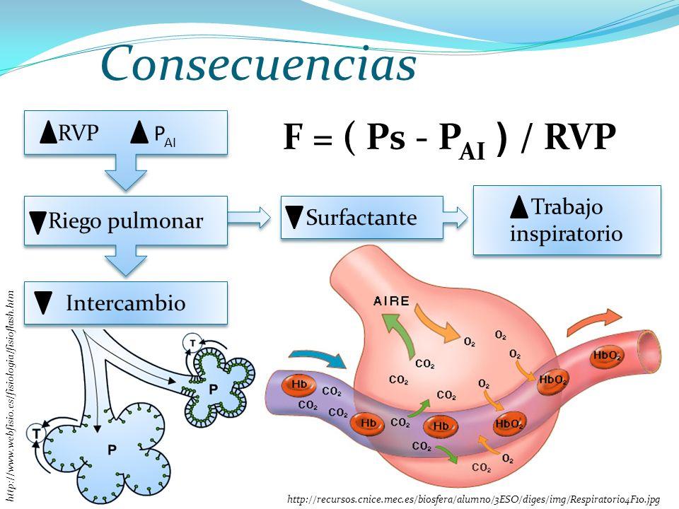 Consecuencias F = ( Ps - PAI ) / RVP RVP PAI Trabajo inspiratorio