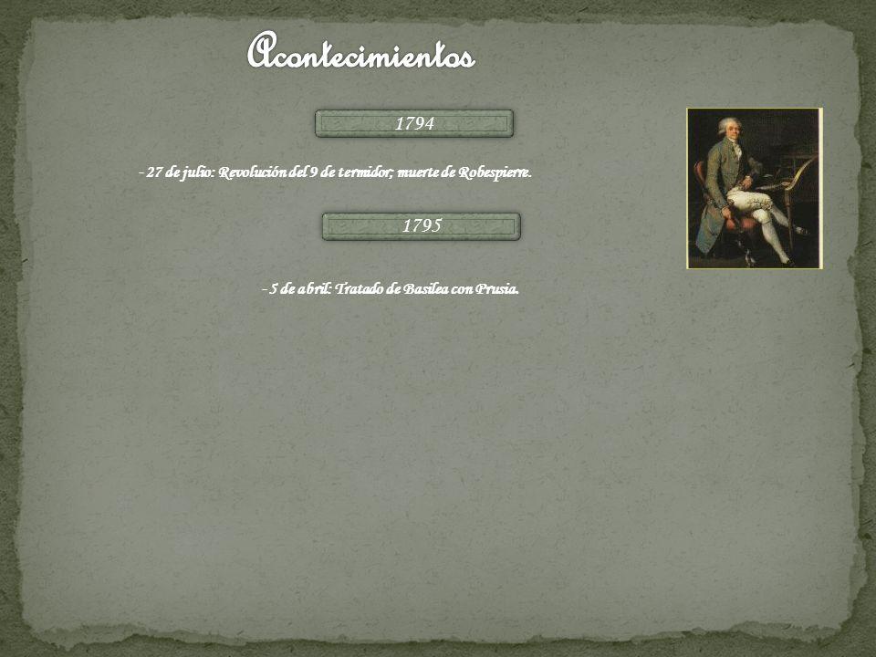 Acontecimientos 1794. -27 de julio: Revolución del 9 de termidor; muerte de Robespierre.