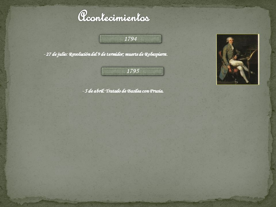 Acontecimientos1794.-27 de julio: Revolución del 9 de termidor; muerte de Robespierre.