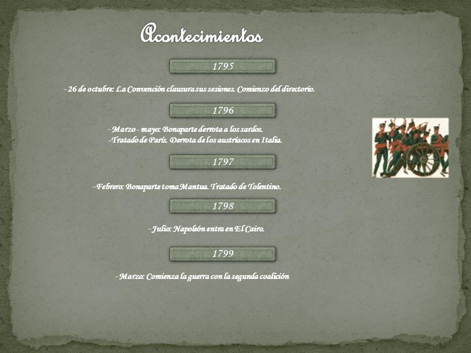 Acontecimientos1795. -26 de octubre: La Convención clausura sus sesiones. Comienzo del directorio. 1796.