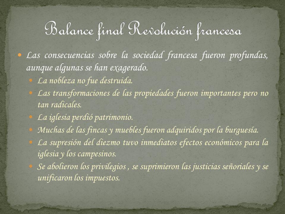 Balance final Revolución francesa