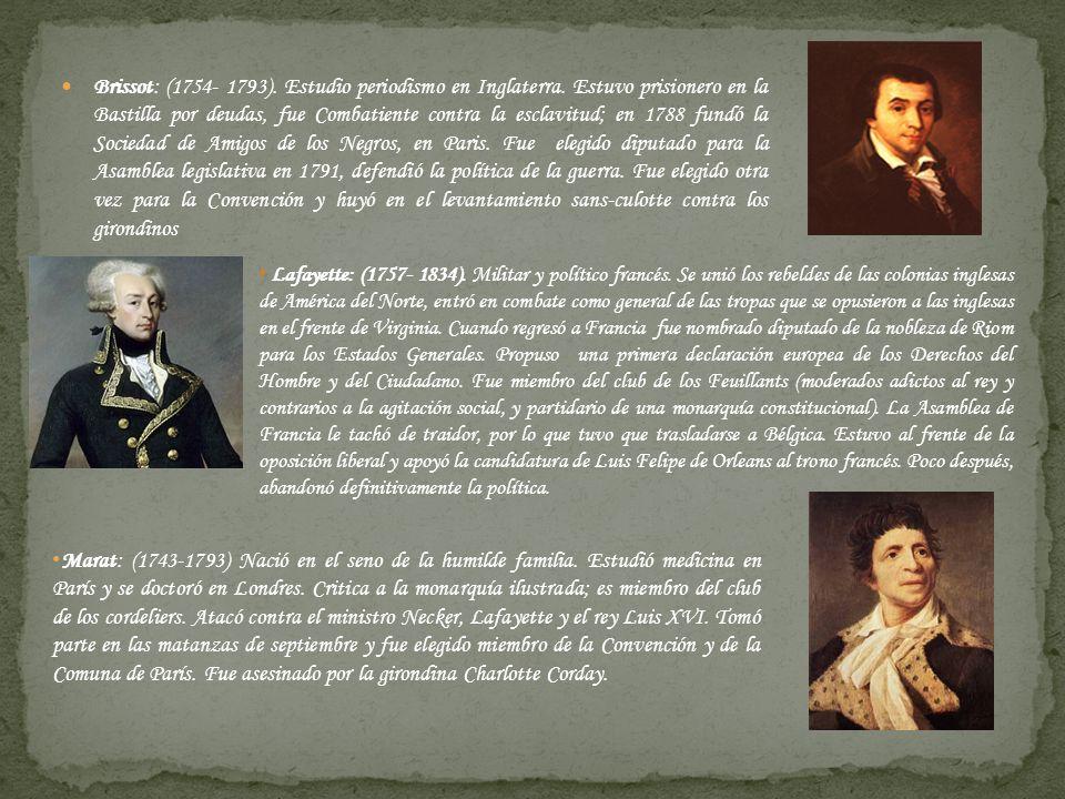 Brissot: (1754- 1793). Estudio periodismo en Inglaterra