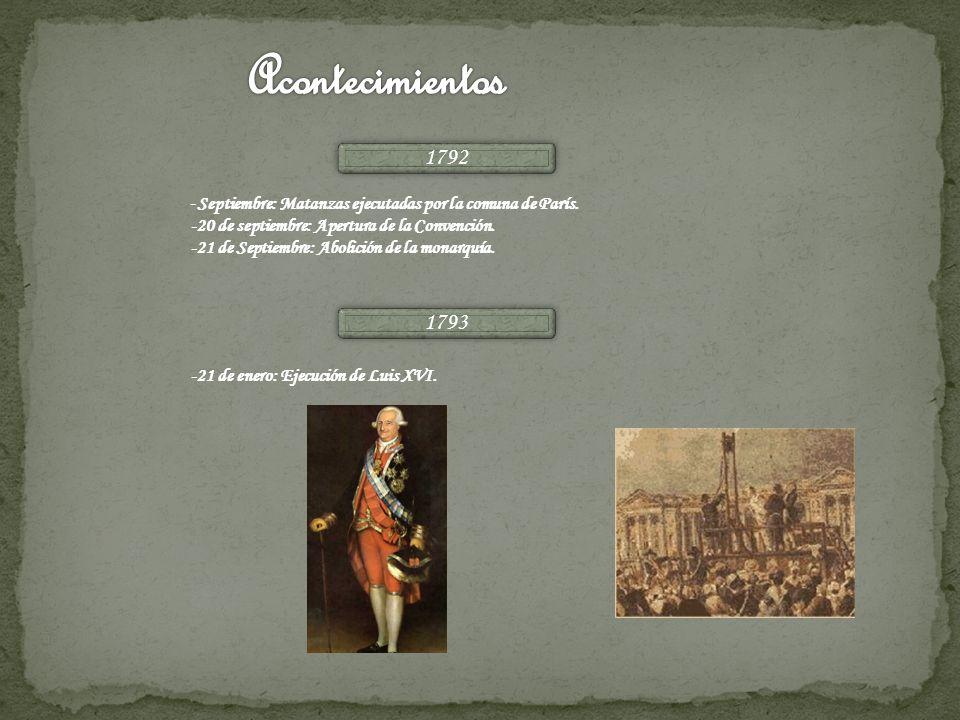 Acontecimientos1792. -Septiembre: Matanzas ejecutadas por la comuna de París. -20 de septiembre: Apertura de la Convención.