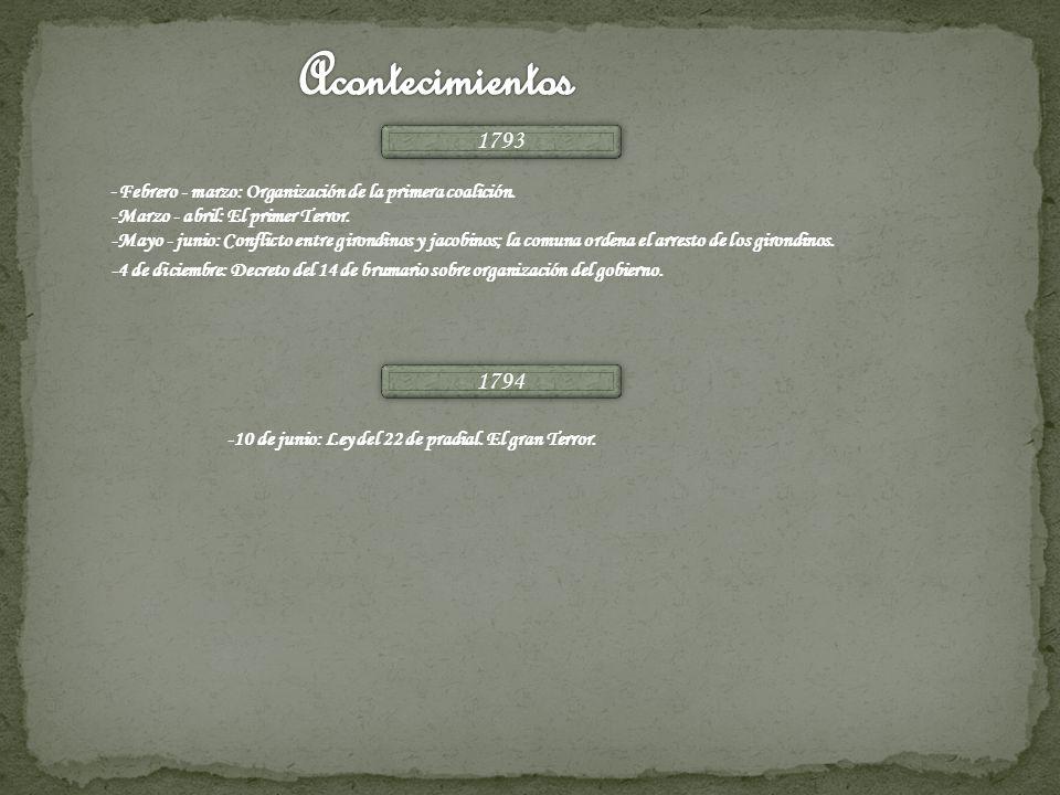 Acontecimientos 1793. -Febrero - marzo: Organización de la primera coalición. -Marzo - abril: El primer Terror.