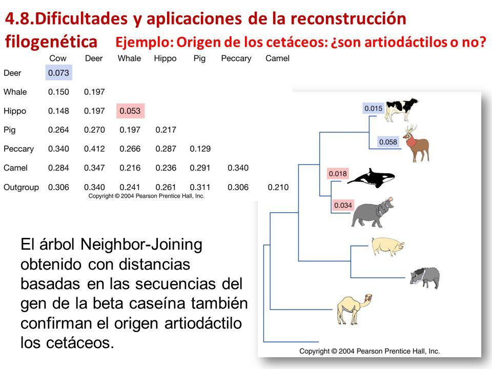 4.8.Dificultades y aplicaciones de la reconstrucción filogenética