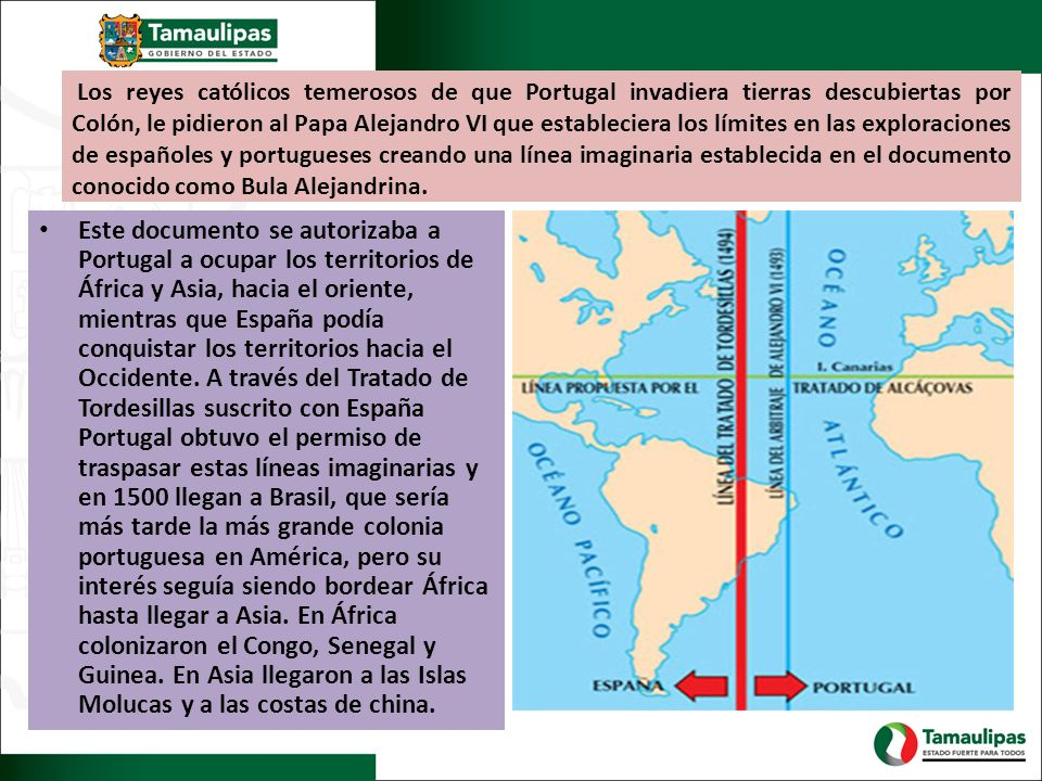 Los reyes católicos temerosos de que Portugal invadiera tierras descubiertas por Colón, le pidieron al Papa Alejandro VI que estableciera los límites en las exploraciones de españoles y portugueses creando una línea imaginaria establecida en el documento conocido como Bula Alejandrina.