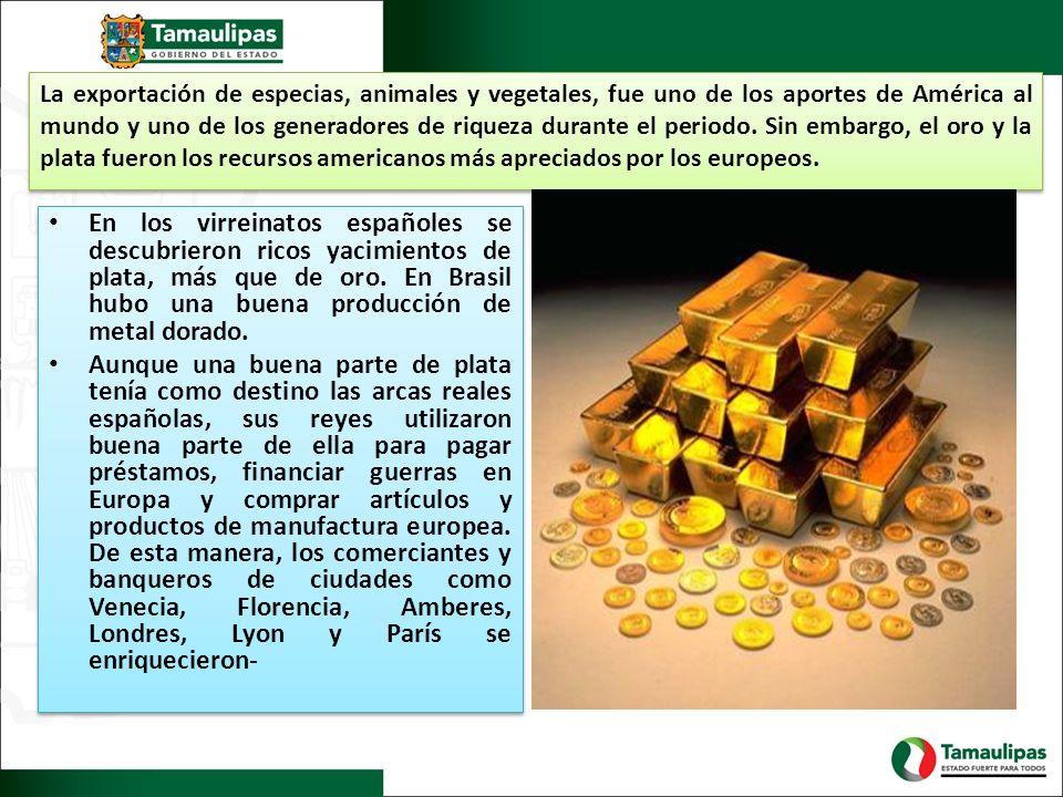 La exportación de especias, animales y vegetales, fue uno de los aportes de América al mundo y uno de los generadores de riqueza durante el periodo. Sin embargo, el oro y la plata fueron los recursos americanos más apreciados por los europeos.