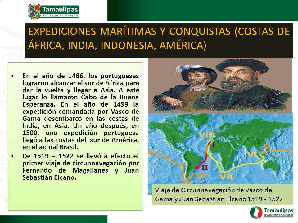 EXPEDICIONES MARÍTIMAS Y CONQUISTAS (COSTAS DE ÁFRICA, INDIA, INDONESIA, AMÉRICA)