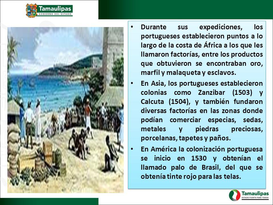 Durante sus expediciones, los portugueses establecieron puntos a lo largo de la costa de África a los que les llamaron factorías, entre los productos que obtuvieron se encontraban oro, marfil y malaqueta y esclavos.