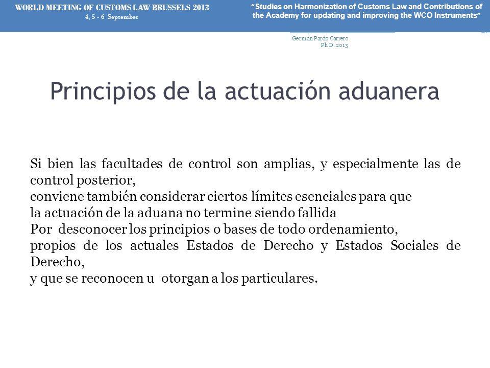 Principios de la actuación aduanera