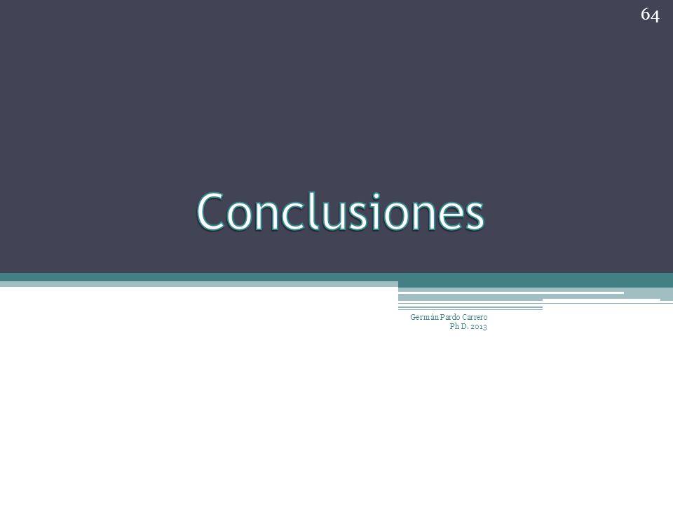Conclusiones Germán Pardo Carrero Ph D. 2013