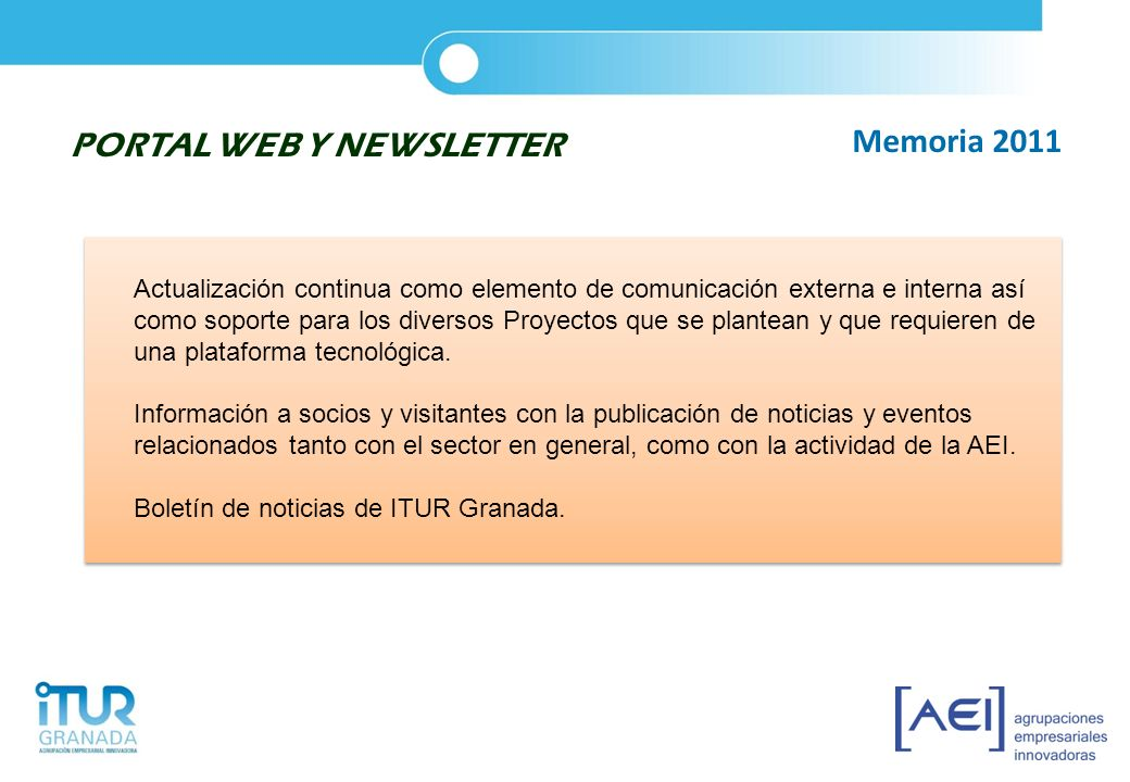 PORTAL WEB Y NEWSLETTER Memoria 2011