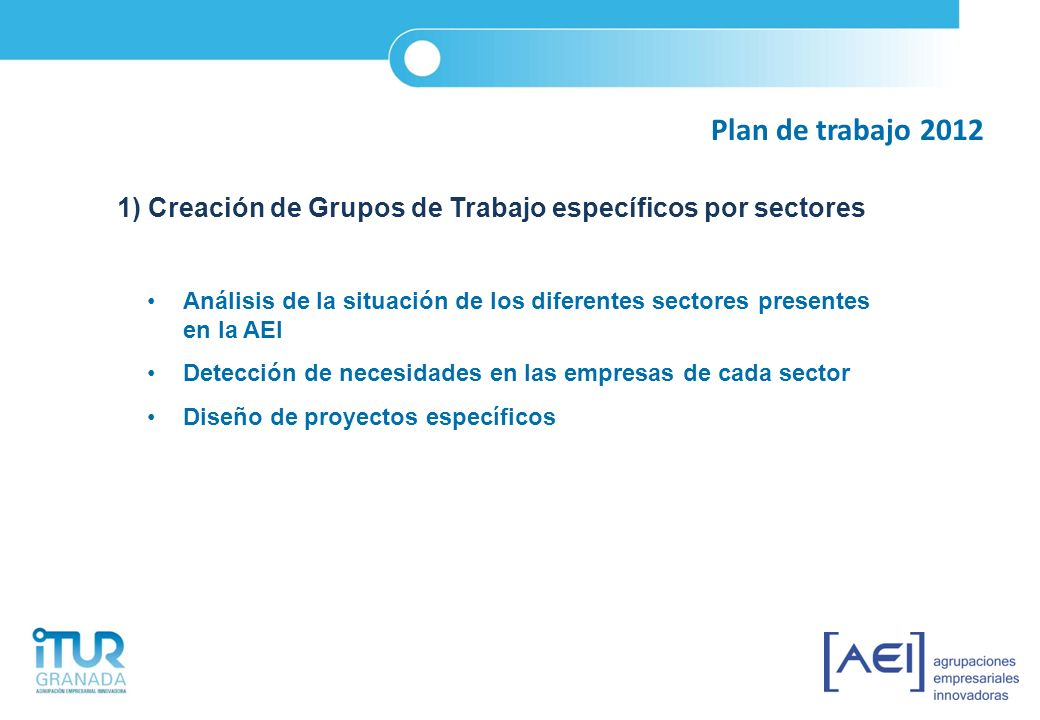 Plan de trabajo 2012 1) Creación de Grupos de Trabajo específicos por sectores.