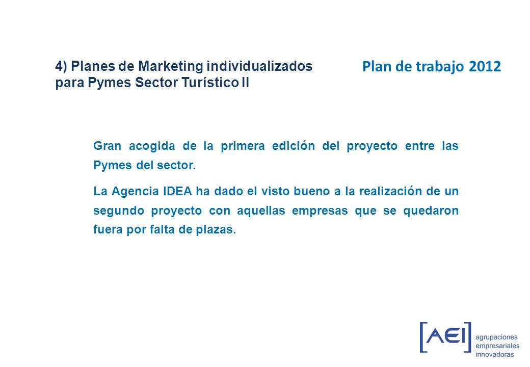 4) Planes de Marketing individualizados para Pymes Sector Turístico II
