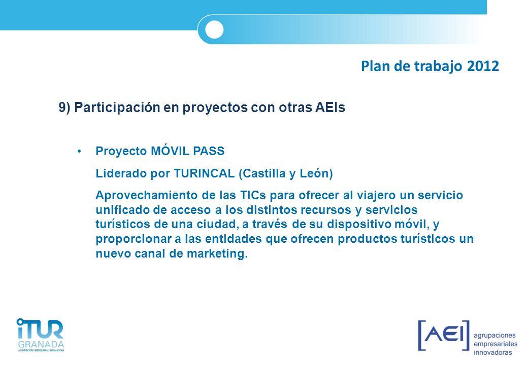 Plan de trabajo 2012 9) Participación en proyectos con otras AEIs