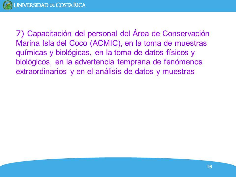 7) Capacitación del personal del Área de Conservación Marina Isla del Coco (ACMIC), en la toma de muestras químicas y biológicas, en la toma de datos físicos y biológicos, en la advertencia temprana de fenómenos extraordinarios y en el análisis de datos y muestras