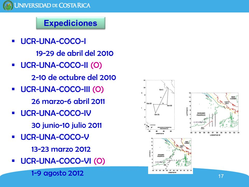 Expediciones UCR-UNA-COCO-I. 19-29 de abril del 2010. UCR-UNA-COCO-II (O) 2-10 de octubre del 2010.