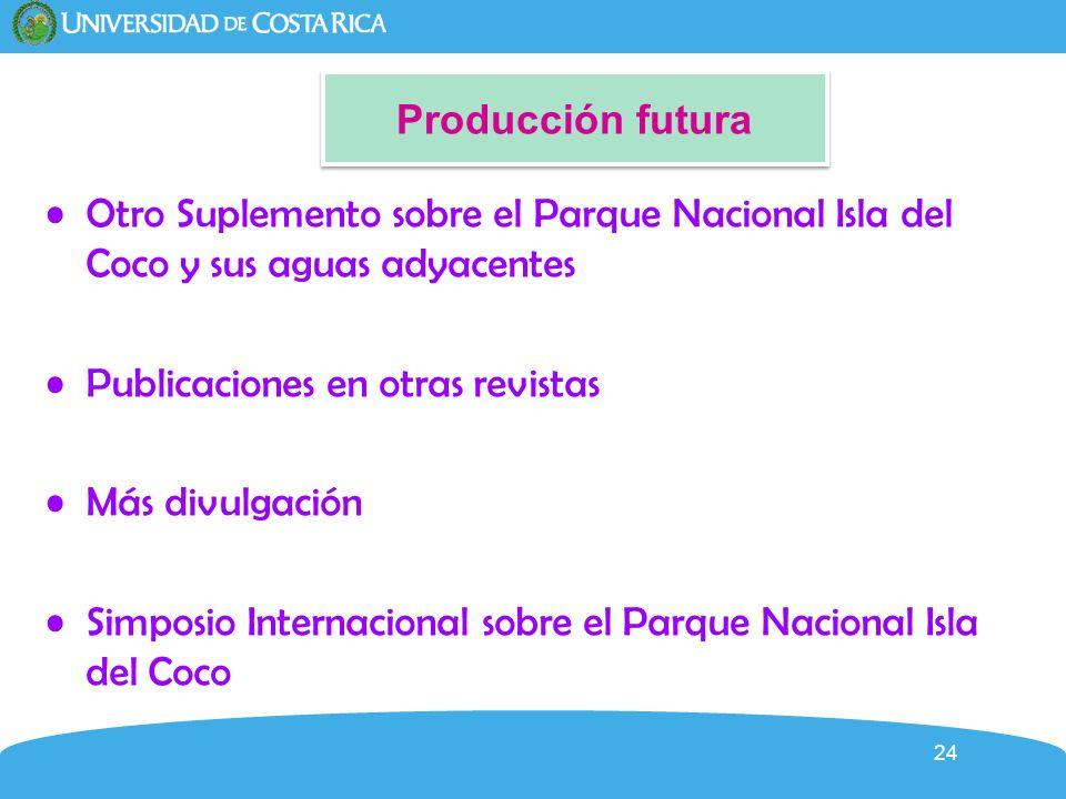 Producción futura Otro Suplemento sobre el Parque Nacional Isla del Coco y sus aguas adyacentes. Publicaciones en otras revistas.