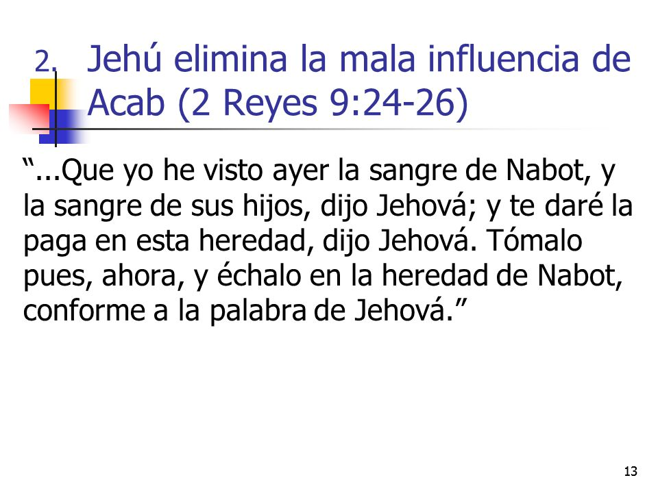 Jehú elimina la mala influencia de Acab (2 Reyes 9:24-26)