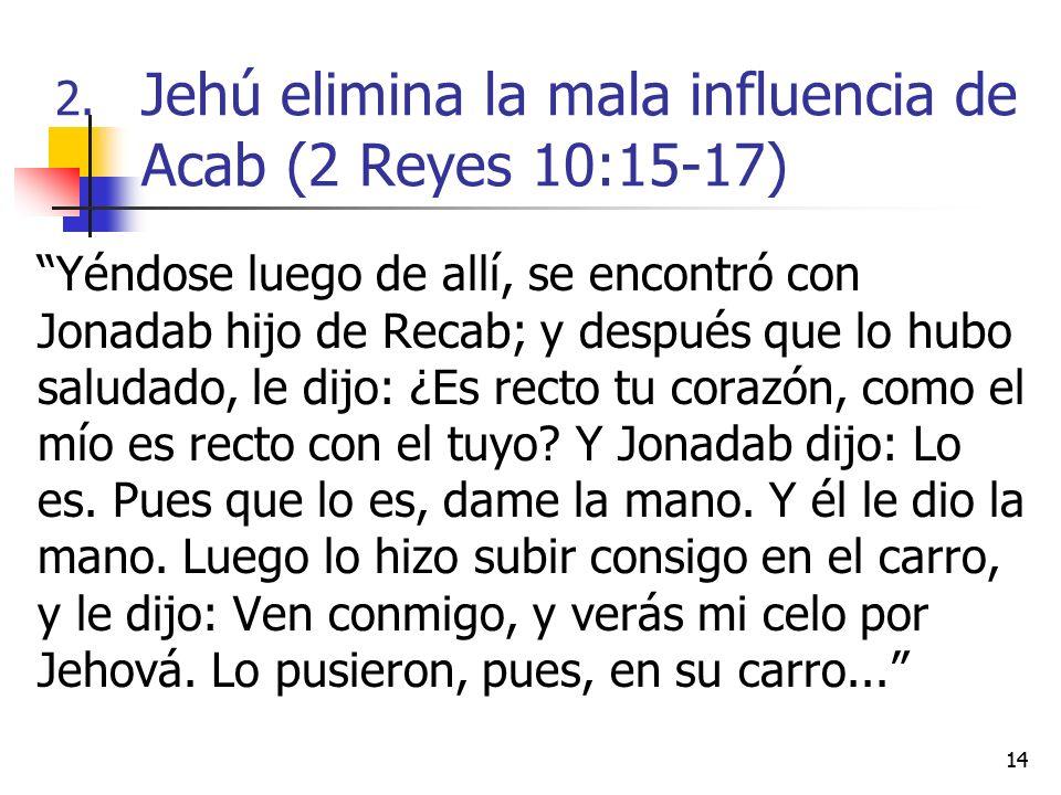 Jehú elimina la mala influencia de Acab (2 Reyes 10:15-17)