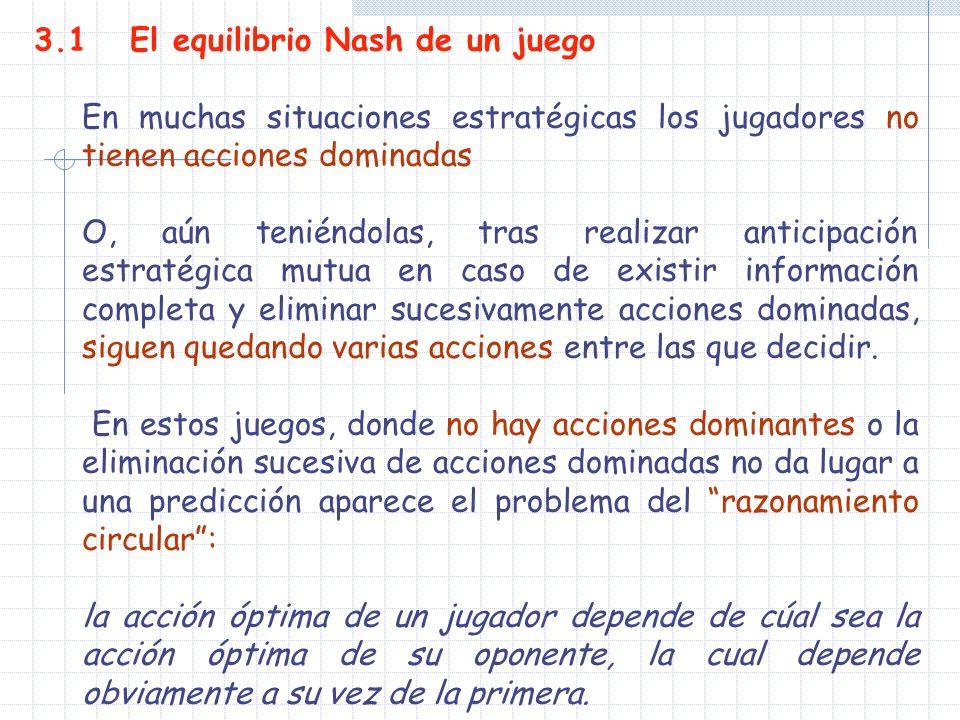 3.1 El equilibrio Nash de un juego