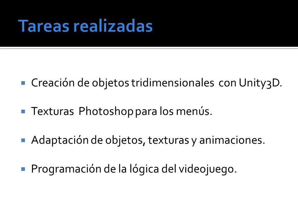 Tareas realizadas Creación de objetos tridimensionales con Unity3D.