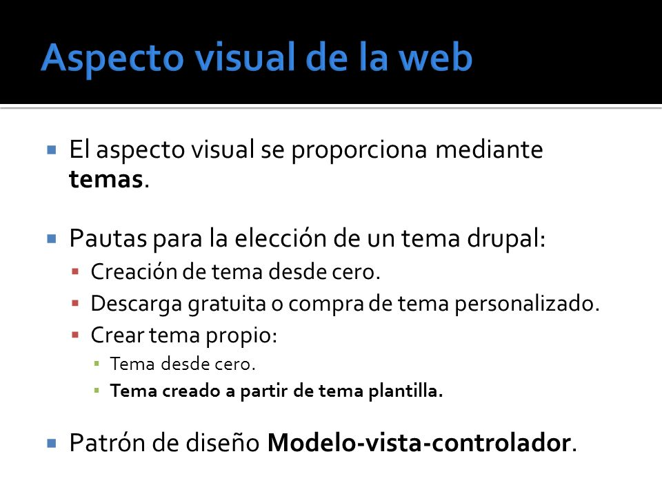 Aspecto visual de la web