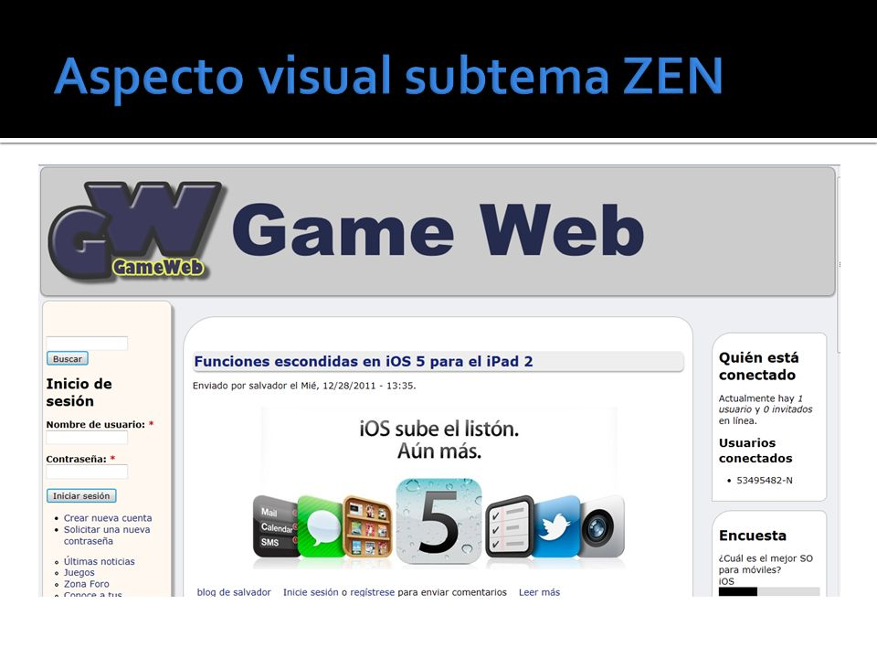 Aspecto visual subtema ZEN