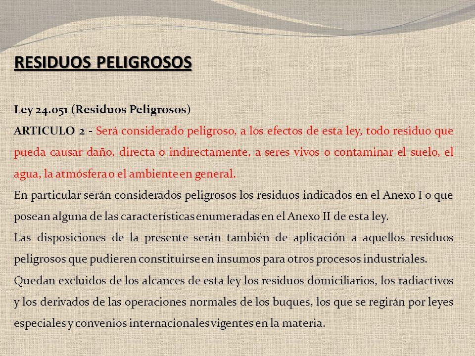 RESIDUOS PELIGROSOS Ley 24.051 (Residuos Peligrosos)