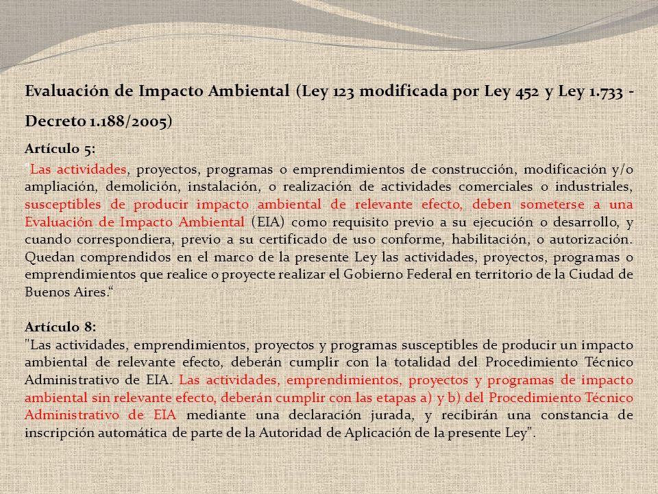 Evaluación de Impacto Ambiental (Ley 123 modificada por Ley 452 y Ley 1.733 - Decreto 1.188/2005)