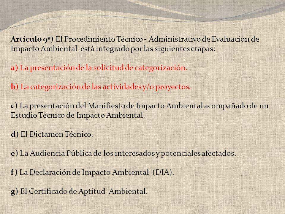 a) La presentación de la solicitud de categorización.