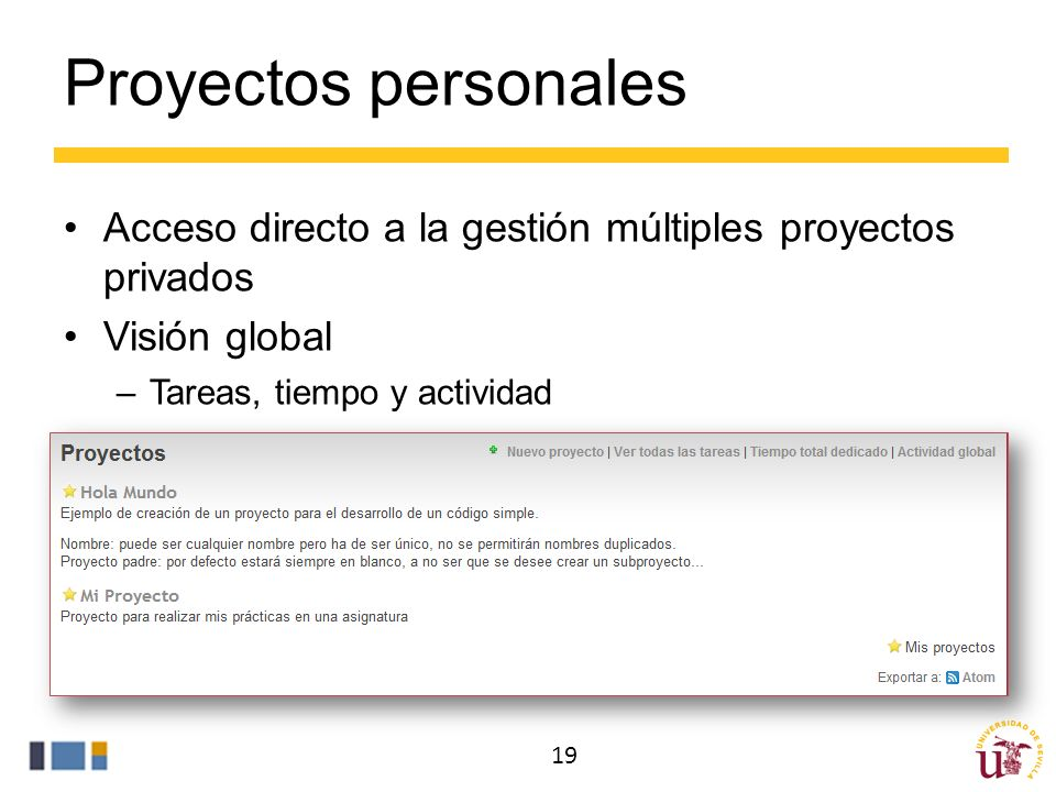 Proyectos personales Acceso directo a la gestión múltiples proyectos privados. Visión global. Tareas, tiempo y actividad.