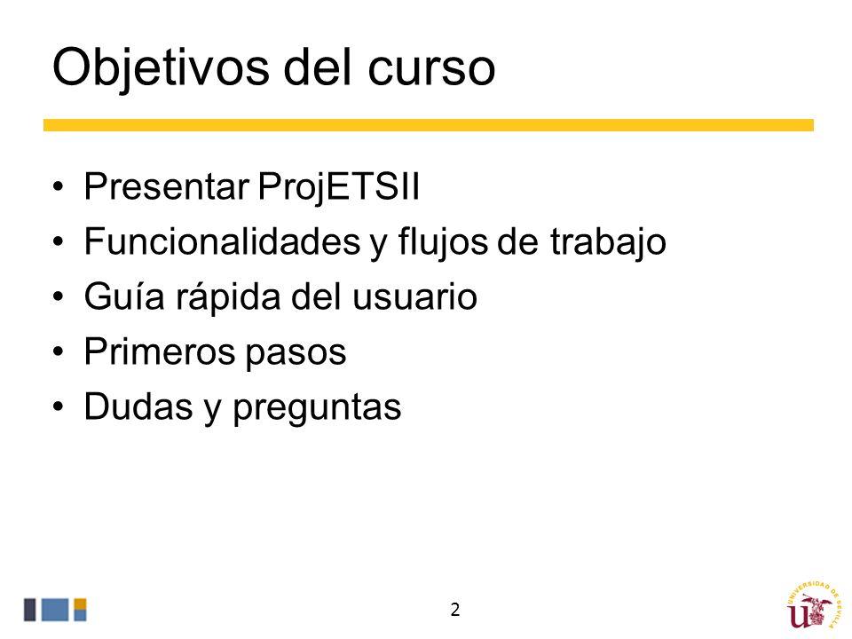 Objetivos del curso Presentar ProjETSII