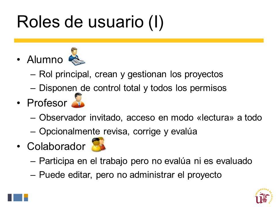 Roles de usuario (I) Alumno Profesor Colaborador